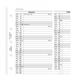 Planning annuel vertical - anglais - Mini