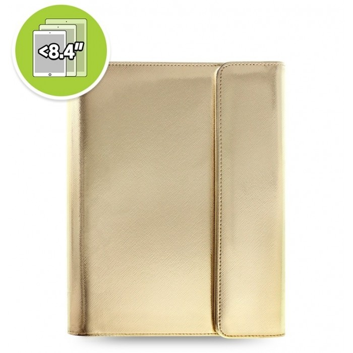 Étui tablette Saffiano Metallic Wrap + eniTAB360 - Small - Gold