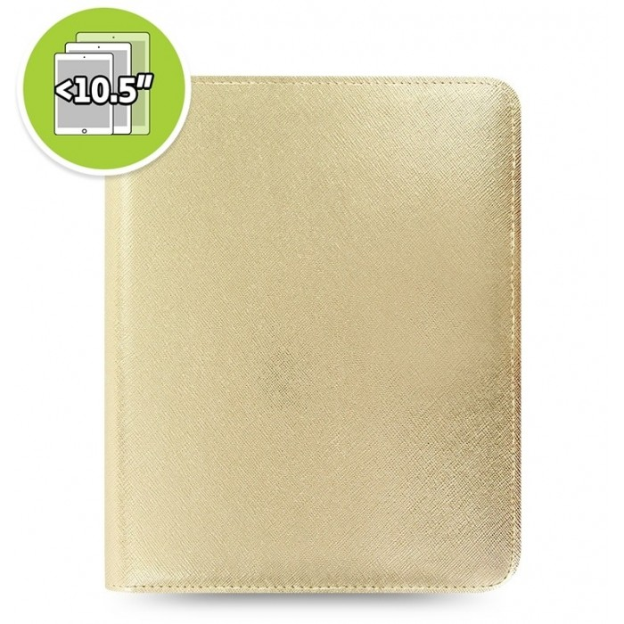 Étui tablette Saffiano Metallic Zip + eniTAB360 - Large - Gold